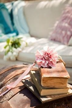 A floral display among books are always on my table top.