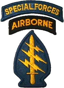 The Special Forces Patch and crest: the dagger stands for commando, the three lightning bolts for the three modes of infiltrations:  air, sea, land.  The arrowhead shape is in homage to the Native American warriors and the teal blue color stood for branch unaffiliated back before there was a Special Forces branch.