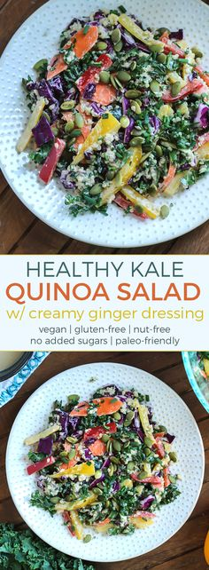 Rainbow Kale Quinoa Salad with creamy ginger dressing. This salad is pretty quick and easy! Vegan, gluten-free, nut-free, and no added sugars. Take out the quinoa and this recipe becomes paleo and whole30 compliant.