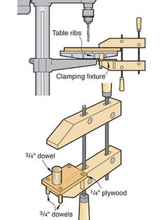 Dowels aid clamps on cast-iron table ribs