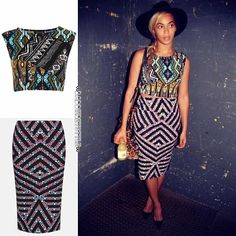 Bey + Topshop tribal Aztec print crop top  chevron print pencil skirt. @Laura Jayson Wanefalea #beyonce #fashion #topshop #mybeybad