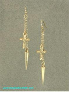 Gold Cross and Spike Earrings
