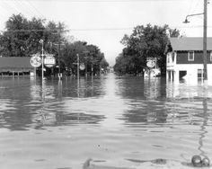 City of #Fayetteville, #NC underwater during the 1945 Flood, causing the #Cape #Fear #River to rise.  #Person Street from #Liberty Point to the river bridge was a solid lane of water. #East #Russell Street and #Cool #Spring Street to the river became canals. [Bil Belche Collection] fayobserver.com / qw
