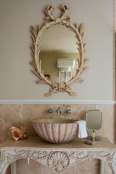 Gorgeous Bathroom with George the III Chippendale Palm Mirror. Furniture Collection, Palm, Mirror, Glass, House, Inspiration, Bathroom, Design, Home Decor