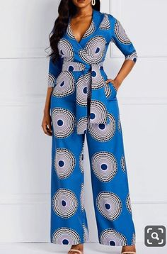 Geometric Print Pockets Notched Lapel Jumpsuits for Women. Jumpsuits for women African Maxi Dresses, Latest African Fashion Dresses, African Dresses For Women, African Print Fashion, African Attire, Africa Fashion, Ankara Dress Styles, Modern African Fashion, Trendy Ankara Styles