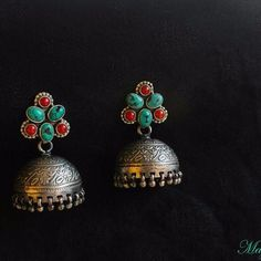 Turquoise, Coral-studded Pure Silver Jhumka.
