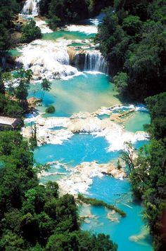 The bright blue of the Cascadas de Agua Azul are caused by minerals leached from the limestone rock bed of the river. Found in Chiapas, Mexico, near the ancient Maya city of Palenque. Places Around The World, Oh The Places You'll Go, Places To Travel, Places To Visit, Around The Worlds, Travel Stuff, Dream Vacations, Vacation Spots, Vacation Ideas