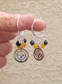 Pittsburgh Steelers Earrings, Steelers Bling, Black and Gold Crystal Hoop Earrings, Pro Football Steelers Jewelry Accessory Fanwear by scbeachbling on Etsy