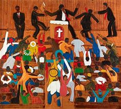Artwork of Winfred Rembert - his work is not paintings, but hand tooled leather and shoe polish color.