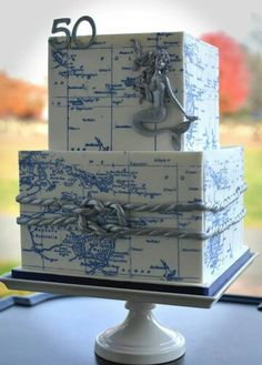 Maps and Mermaid nautical cake Gorgeous Cakes, Pretty Cakes, Amazing Cakes, Cupcakes, Cupcake Cakes, Shoe Cakes, Map Cake, Cake Art, Cake Pops