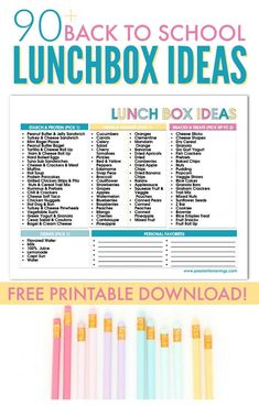 90 Back to School Lunchbox Ideas for Kids! Make Lunches Quickly and Easily just pick one item from each category and go! Perfect for Busy Moms trying to stay Organized for Back to School   #backtoschool #school #organized #printables #firstdayofschool #lunches #lunchbox