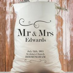 Personalised Heavy Cotton Wedding Sack - Mr and Mrs Swirl Design