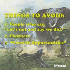 """Things to avoid:  1. People who say, """"Let's not and say we did.""""  2. Panthers 3. """"Growth Opportunities""""  (design, funny, lol, Shoebox, list, listicle, humor) Who Said, Life Humor, Panthers, Shoe Box, Opportunity, Lol, Let It Be, Sayings, Funny"""