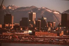 From and Spruce - a skyline that is today almost entirely obliterated! - City of Vancouver Archives Richmond Vancouver, Vancouver Bc Canada, Downtown Vancouver, West Coast, San Francisco Skyline, Beautiful Homes, New York Skyline, Old Things, Ocean