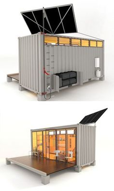 In this case, the sum is more than the parts – and the building footprint tells only half of the story. Push a button and things begin to unfold, revealing not just a deck but a lofted sleeping area and other pop-out amenities all hiding in the shell of a Shipping Container Design, Cargo Container Homes, Container Shop, Building A Container Home, Container Cabin, Shipping Containers, Shipping Container Office, Container Architecture, Container Buildings