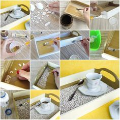 How To Make Eggshell Mosaic Coffee Tray Step By DIY Tutorial Instructions