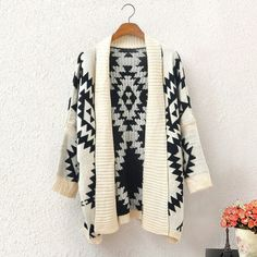Women Autumn Winter Geometric Printed Lady Knit Cardigan - Shops Hive
