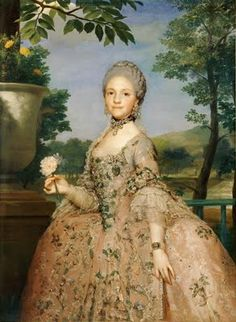 Marie-Luisa de Parma as a Bride, 1765 ~ Anton Raphael Mengs.  Here, Marie-Luisa, age 13, is shown in her wedding gown which includes diamonds and pearls to highlight her status; the bracelet has a miniature portrait of her soon-to-be husband. She was a granddaughter of Louis XV through his eldest daughter (Marie Antoinette married the future king Louis XVI who was the grandson of Louis XV through his eldest son).  Marie Luisa married her cousin, Charles IV of Spain in 1765.  [1st of four…