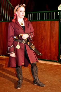 Steampunk, womens Airship Pirate long coat in maroon by RomanyRapture on Etsy https://www.etsy.com/listing/80165809/steampunk-womens-airship-pirate-long