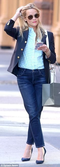 Sleek and chic: Reese Witherspoon, 40, made her gingham button down and fitted jeans work ...