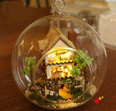 NEW ARRIVAL Diy Handmade Mini Toy Model Doll House Glass Marbles Dollhouse with Light Home Decoration - Forest Dream Island $32.50