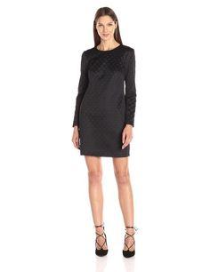 Trina by Trina Turk Embosses Studded Scuba Long Sleeve Dress in Black