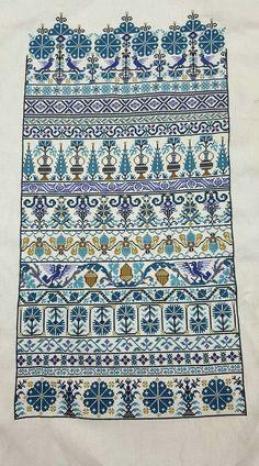 Cross Stitch Borders, Cross Stitch Samplers, Cross Stitch Designs, Cross Stitching, Cross Stitch Embroidery, Cross Stitch Patterns, Halloween Embroidery, Blue Tiles, Fair Isle Knitting