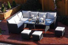 9 Seater Rattan Corner Garden Sofa & Dining Table Set in Black With Light Cushions Black Rattan Garden Furniture, Garden Sofa, Sofa Dining Table, Dining Set, Outdoor Cover, Corner Garden, Corner Sofa, 1 Piece, Cushions