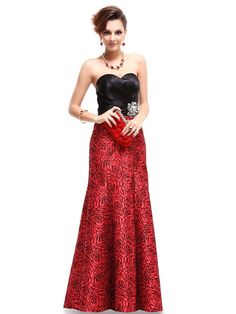 Ever Pretty Strapless Black Red Satin Floral Printed Ruffles Evening Gown 09727 - Wedding Deal USA Cheap Evening Gowns, Best Evening Dresses, Long Black Evening Dress, Evening Dresses Plus Size, Hot Dress, Dress Up, Dress Prom, Formal Dress, Lace Dress
