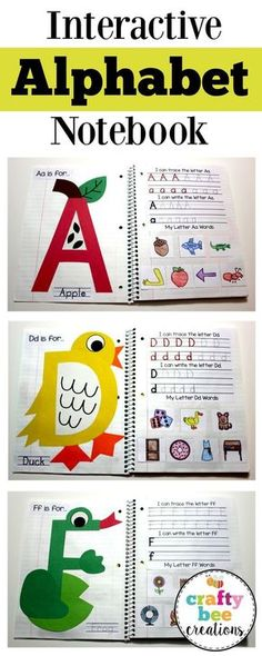This interactive alphabet notebook is perfect for teaching the alphabet to children. Children will make a craft for each letter, write their letters, and cut and paste different pictures that match th… - Preschool Children Activities Alphabet Crafts, Letter A Crafts, Alphabet Letters, Alphabet Games, Spanish Alphabet, Free Alphabet Printables, Alphabet Books, Book Crafts, Fun Crafts