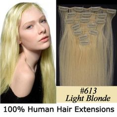 """15"""" 7pcs set Clip-in hair remy Human Hair Extensions #613,shop at www.costwe.com"""