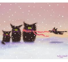 Snowcats Matted Print by CrankyCats on Etsy