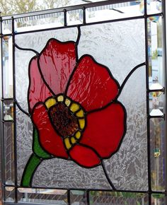Red Poppy Stained Glass Window by DebsGlassArt on Etsy
