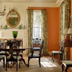 decorating with orange paint wallpaper interior design color ideas Halloween fall traditional classic style bedrooms dining powder room laundry bath closet Orange Rooms, Orange Walls, Orange Room Decor, Orange Dining Room, Green Rooms, Murs Oranges, Do It Yourself Decoration, Chippendale Chairs, Dining Room Design