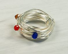 Crystals Ring. Round Shaped Ring. Silver Plated Ring. Mauve Red Blue Crystals, Multi Color Crystals, Wire-Wrapped Ring.