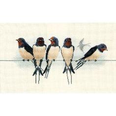 Swallows cross stitch pattern