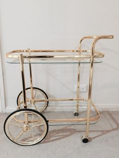 Gold Bar Cart Drink Trolley, Hollywood Regency / Mid Century Style $281.21