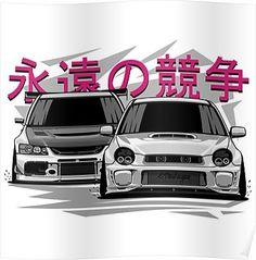 Impreza STI vs Lancer Evolution Poster