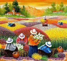 Mexican Artists, Mexican Folk Art, Art And Illustration, Peruvian Art, Naive Art, Mosaic Art, Beautiful Paintings, American Art, Modern Art