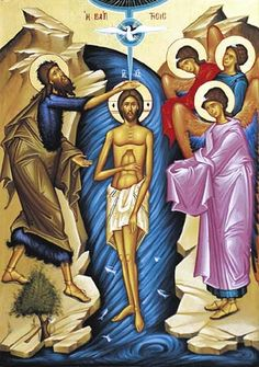 Theophany Season: Theophany, sometimes called Epiphany, is upon us (Богоявление in Russian, Θεοφάνεια in Greek). The sixth of January is the official date that the baptism of Christ is celebrated … Religious Icons, Religious Art, Religious Images, Jesus Baptised, Baptism Of Christ, Byzantine Icons, Pentecost, John The Baptist, Spirituality