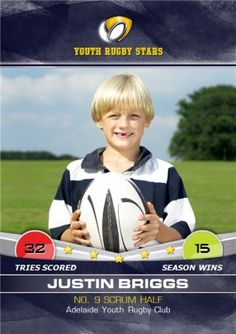 Personalised Kids Rugby Card Rugby Club, Photo Upload, Kids Sports, Olympians, Winter Sports, Newcastle, Your Cards, Birthday Cards, Youth