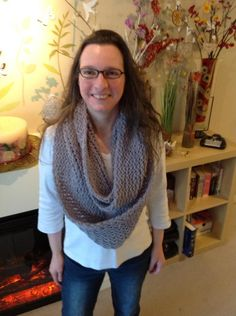 Double knitted Infinity Scarf on long loom.