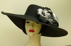 "Black 6"" Brim/Lace Rose..with net accent...fantastic hat for the Derby, wedding or party....Hat-a-tude.com"