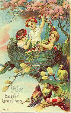 Children in Bird's Nest Vintage Easter Postcard