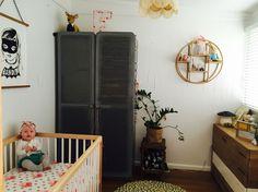 Baby girls room. Interior Design. Kalon Caravan Cot. Bandit Girl Print. Cot sheets. Urban Outfitters. RetroJan. Leo and Bella. Pom Pom Rug. Mushroom Lamp. Bubbles Lane