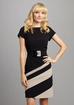 SANDRA DARREN Short Sleeve Stripe Dress
