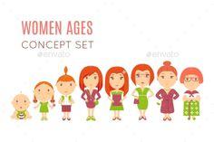Set of Women Age Flat Icons