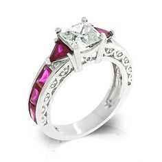 Rabecca's Antique Style Fuchsia Accented Cubic Zirconia Ring - Only $36.95 — Fantasy Jewelry Box