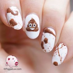 After all of those serious designs, I need me something fun! The poop emoji has always gotten on my nerves, might as well turn it around by making it into some fun nail art ; Crazy Nail Designs, Creative Nail Designs, Simple Nail Art Designs, Creative Nails, Crazy Nail Art, Crazy Nails, New Nail Art, Cute Nails, Pretty Nails