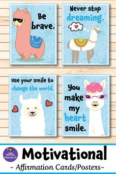 Check out these colorful llama motivational posters and affirmation cards. These 35 beautiful inspirational - Quotes interests Classroom Walls, Classroom Posters, Classroom Setup, Future Classroom, School Classroom, Classroom Organization, Back To School Bulletin Boards, Poster S, Affirmation Cards